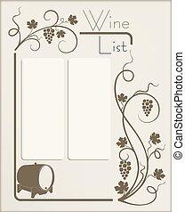 boutique, lista, vinho