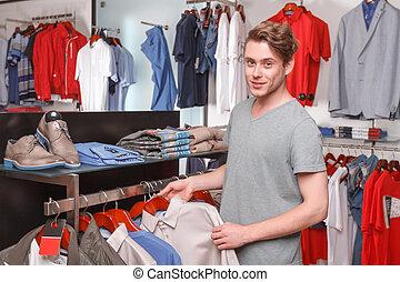 boutique, lui-même, chemise, choisir, homme