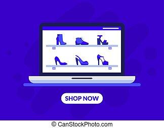 boutique, mensole, scarpe, moda, atterraggio, vettore, illustrazione, linea, sagoma, abbigliamento, pagina, negozio, calzatura