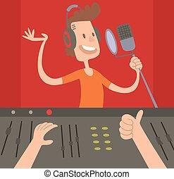 boutique, mezclar, trabajando, productor, sonido, juntos, ...