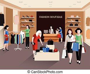 boutique, mode, illustration