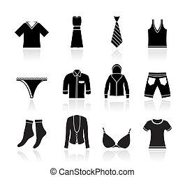 boutique, mode, kleding, iconen