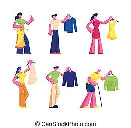 boutique, scegliere, abbigliamento, uomini maggiori, illustrazione, foggiato, appartamento, vettore, risparmiare, caratteri, set., tempo, vestiti, giovane, nuovo, mall., vestire, acquisto, indumento, cartone animato, shopping, persone, negozio, donne