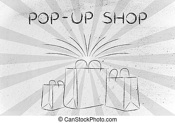 Boutique shopping bags with retro rays and text Pop-up Shop...
