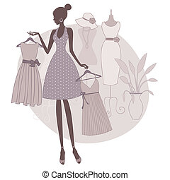 Illustration of a girl shopping at a boutique, trying to choose between two dresses.