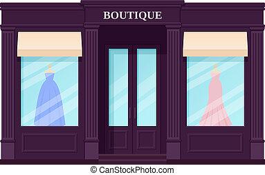 Boutique storefront, shop. Vector illustration. Vintage store front.