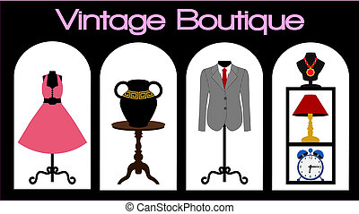Vector illustration of a vintage store front featuring vintage items on display including womans pink dress on a manequin, a mans dark grey pin striped business suite, a black vase, an antique brown table, jewellery, and some collectable items including a blue clock and a lamp on some black shelves.