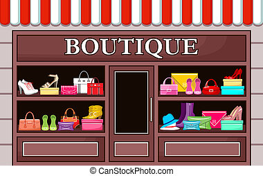 boutique., vettore, moda, illustrazione