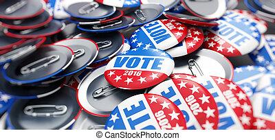 bouton, élection, fond, vote, 2016, écusson