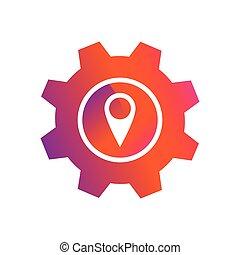 bouton, épingle, emplacement, monture, vecteur, icône