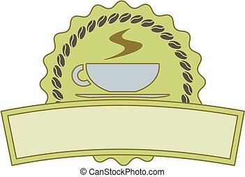 bouton, étiquette, vert, café, ou