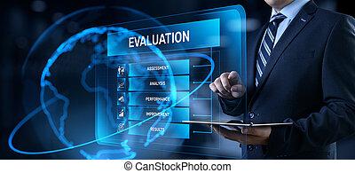 bouton, évaluation, service, feedback., screen., client, urgent, évaluation, homme affaires