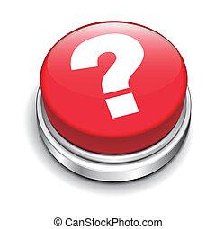 bouton, 3d, question, rouges, marque
