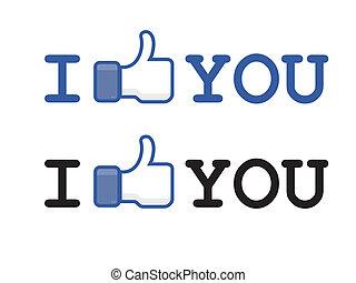 bouton, aimer, facebook