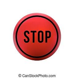 bouton, arrêt, rond, rouges
