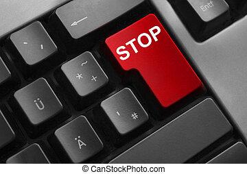 bouton, arrêt, rouges, clavier