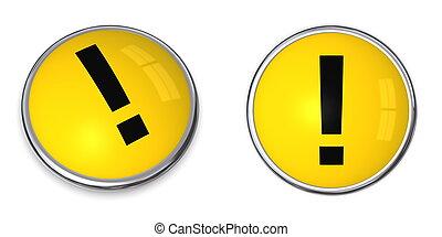 bouton, attention, symbole