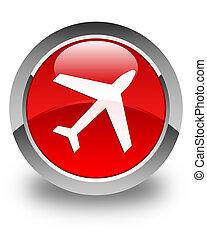 bouton, avion, lustré, rond, rouges, icône
