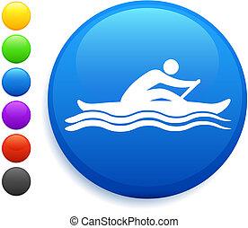 bouton, aviron, rond, icône, internet