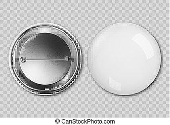 bouton, badging, isolé, vecteur, fond, vide, blanc, écusson, rond, transparent