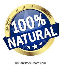 bouton, bannière, 100%, naturel