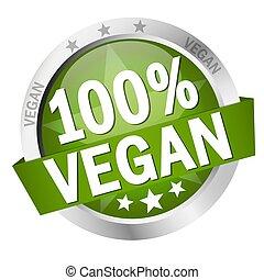 bouton, bannière, 100%, vegan