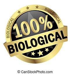 bouton, bannière, biologique, 100%