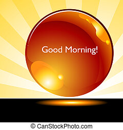 bouton, bon, levers de soleil, fond, matin