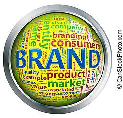 bouton, brillant, wordcloud, 'brand'