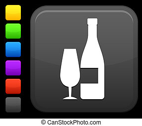 bouton, carrée, champagne, icône, internet