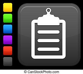 bouton, carrée, presse-papiers, icône, internet