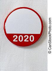 bouton, chemise, campagne, politique, vide, blanc, 2020