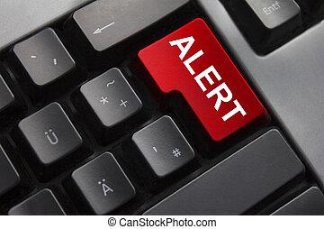bouton, clavier, rouges, alerte
