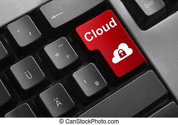 bouton, clavier, sécurité, nuage, rouges