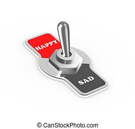 bouton, commutateur, triste, cabillot, heureux, 3d