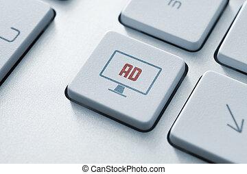 bouton, concept, publicité, internet