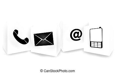 bouton, contact, conception, nous, icône