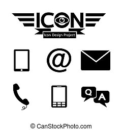 bouton, contact, icône