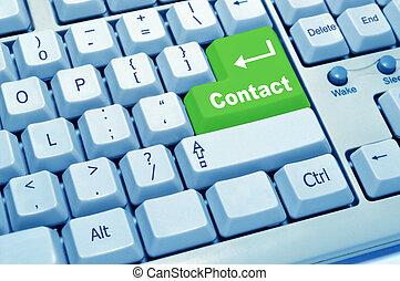 bouton, contact, vert