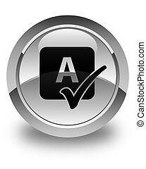 bouton, contrôle charme, lustré, blanc, rond, icône