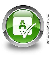 bouton, contrôle charme, vert, lustré, doux, rond, icône