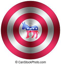 bouton, démocrates, métallique
