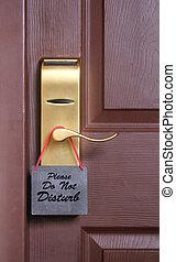 bouton, déranger, porte, salle, pendu, demande, motel, hôtel...