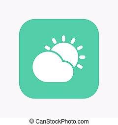 bouton, derrière, soleil, isolé, briller, nuage