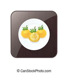 bouton, disséquer, tomate, icône, couleur, jaune
