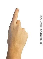 bouton, doigts, main, urgent, imaginaire, air