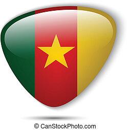 bouton, drapeau camerounais, lustré