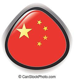 bouton, drapeau chine, illustration