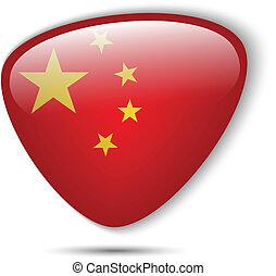 bouton, drapeau chine, lustré
