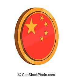 bouton, drapeau chine